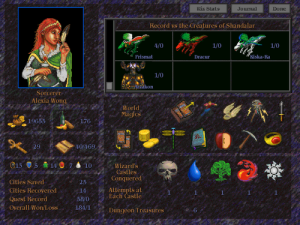 The inventory screen, with items that affect your life totals and game play